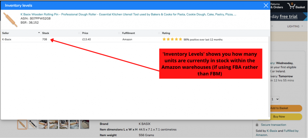 Helium 10 Chrome Extension Inventory Levels