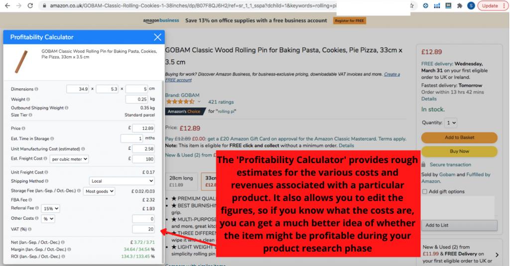 Helium 10 Chrome Extension Profitability Calculator